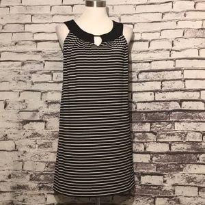 Kim Rogers Striped Key Hole A Line Dress
